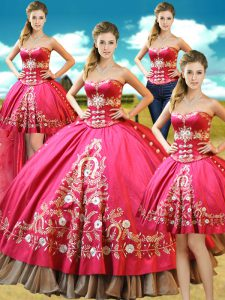 Fashionable Four Piece Sleeveless Taffeta Floor Length Lace Up Sweet 16 Quinceanera Dress in Hot Pink with Beading and Embroidery