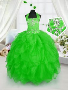 Halter Top Sleeveless Organza Little Girls Pageant Dress Wholesale Appliques and Ruffles Lace Up