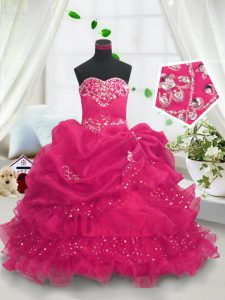 Gorgeous Hot Pink Ball Gowns Sweetheart Sleeveless Organza Floor Length Lace Up Beading and Ruffled Layers and Pick Ups Kids Pageant Dress