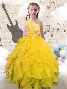 New Arrival Yellow One Shoulder Neckline Beading and Ruffles Kids Pageant Dress Sleeveless Lace Up