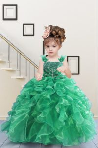 Apple Green Organza Lace Up Straps Sleeveless Floor Length Girls Pageant Dresses Beading and Ruffles