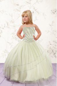 Modern Sleeveless Lace Up Floor Length Beading Little Girl Pageant Dress