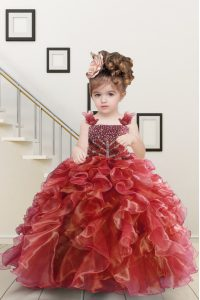 Super Floor Length Lace Up Girls Pageant Dresses Watermelon Red for Military Ball and Sweet 16 and Quinceanera with Beading and Ruffles