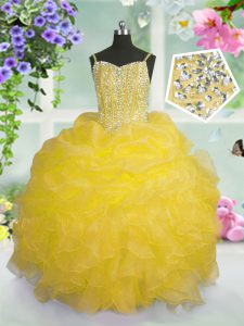 Pick Ups Floor Length Ball Gowns Sleeveless Gold Little Girls Pageant Gowns Lace Up