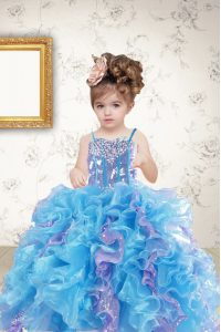 Discount Sequins Ball Gowns Girls Pageant Dresses Multi-color Spaghetti Straps Organza Sleeveless Floor Length Lace Up