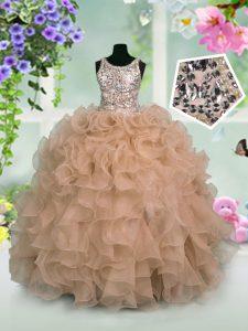 Scoop Pink Zipper Little Girls Pageant Dress Ruffles and Sequins Sleeveless Floor Length