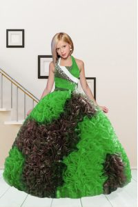 Lovely Halter Top Apple Green and Chocolate Sleeveless Beading and Ruffles Floor Length Pageant Gowns For Girls