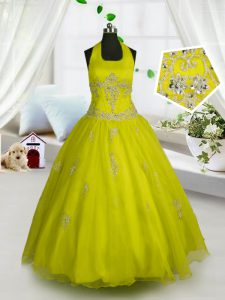 Yellow Kids Pageant Dress Party and Wedding Party with Appliques Halter Top Sleeveless Lace Up
