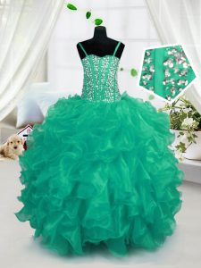 Turquoise Sleeveless Floor Length Beading and Ruffles Lace Up Little Girls Pageant Dress Wholesale