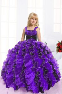 Blue And Black Sleeveless Beading and Ruffles Floor Length Little Girls Pageant Gowns