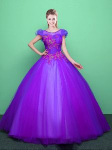 Scoop Floor Length Ball Gowns Short Sleeves Purple Sweet 16 Dress Lace Up