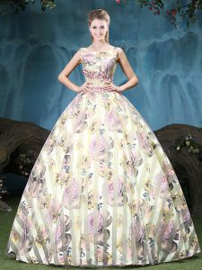 Exceptional Straps Sleeveless Tulle Floor Length Lace Up Quinceanera Gown in Multi-color with Appliques and Pattern