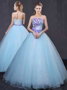 Light Blue Sweet 16 Dresses Military Ball and Sweet 16 and Quinceanera with Appliques and Belt Strapless Sleeveless Lace Up