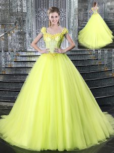 Sophisticated With Train Yellow Sweet 16 Dresses Straps Sleeveless Brush Train Lace Up