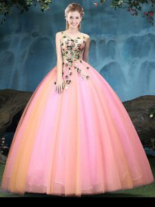 Sumptuous Multi-color V-neck Lace Up Appliques Sweet 16 Dress Sleeveless