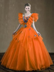 New Style Orange Red Sleeveless Appliques and Ruffles Floor Length Sweet 16 Quinceanera Dress