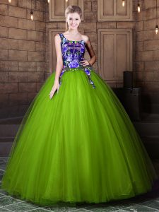 One Shoulder Floor Length Lace Up Quinceanera Dress Olive Green for Military Ball and Sweet 16 and Quinceanera with Pattern
