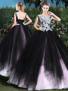 Nice Scoop Floor Length Lace Up Sweet 16 Dress Pink And Black for Military Ball and Sweet 16 and Quinceanera with Appliques and Ruffles