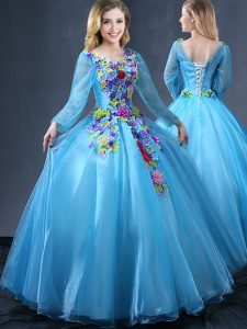 Long Sleeves Lace Up Floor Length Appliques Sweet 16 Dress