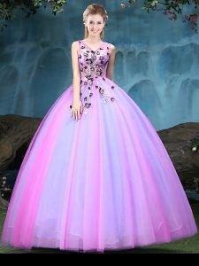 Multi-color V-neck Neckline Appliques Sweet 16 Quinceanera Dress Sleeveless Lace Up