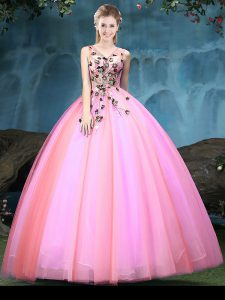 V-neck Sleeveless Lace Up Quince Ball Gowns Multi-color Tulle