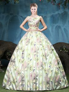 Custom Made Straps Appliques and Pattern Quinceanera Dresses Multi-color Lace Up Sleeveless Floor Length