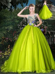 Custom Design Scoop Sleeveless Court Train Lace Up Beading and Appliques and Belt Quinceanera Gowns