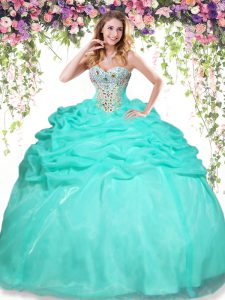 Deluxe Sleeveless Beading and Pick Ups Lace Up Sweet 16 Quinceanera Dress