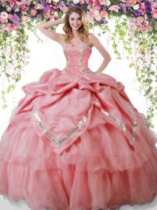 Stunning Watermelon Red Vestidos de Quinceanera Military Ball and Sweet 16 and Quinceanera with Beading and Pick Ups Sweetheart Sleeveless Lace Up