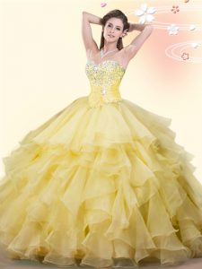 Sexy Yellow Lace Up Quince Ball Gowns Beading and Ruffles Sleeveless Floor Length