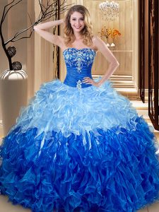 Multi-color and Blue And White Sweetheart Lace Up Embroidery and Ruffles Quinceanera Dress Sleeveless