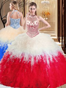 Halter Top Floor Length Lace Up Quinceanera Gown White And Red for Military Ball and Sweet 16 and Quinceanera with Beading and Ruffles