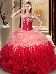 Multi-color Ball Gowns Embroidery and Ruffles 15th Birthday Dress Lace Up Organza Sleeveless Floor Length