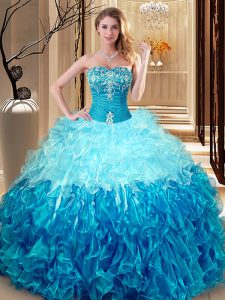 Glittering Sleeveless Lace Up Floor Length Embroidery and Ruffles Sweet 16 Quinceanera Dress