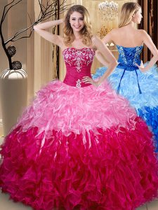 Shining Sweetheart Sleeveless Sweet 16 Quinceanera Dress Floor Length Embroidery and Ruffles Multi-color Organza