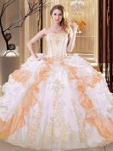 Fantastic White and Yellow Lace Up Quinceanera Dresses Embroidery and Ruffled Layers Sleeveless Floor Length