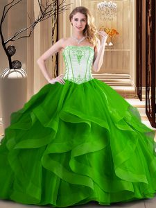Suitable Green and Fuchsia Tulle Lace Up Strapless Sleeveless Floor Length Sweet 16 Quinceanera Dress Embroidery