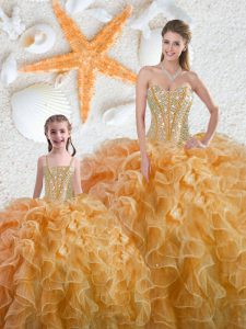 Pretty Yellow Sleeveless Floor Length Beading Lace Up Quinceanera Dress
