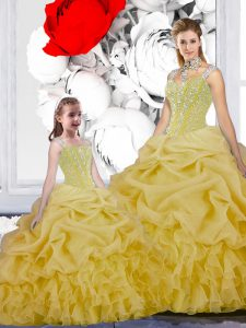 Cheap Straps Sleeveless Floor Length Beading and Ruffles and Pick Ups Lace Up Sweet 16 Quinceanera Dress with Yellow
