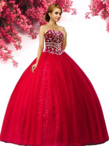 Delicate Sleeveless Tulle Floor Length Lace Up Quince Ball Gowns in Red with Beading