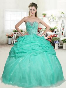 Apple Green Organza Lace Up Quinceanera Dress Sleeveless Floor Length Beading and Pick Ups