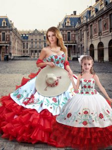 Superior Floor Length Ball Gowns Sleeveless White And Red Sweet 16 Dress Lace Up