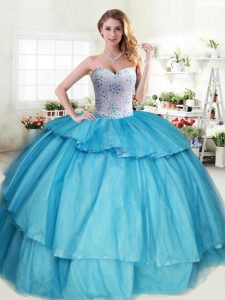 Flare Sleeveless Lace Up Floor Length Beading and Ruffled Layers Sweet 16 Quinceanera Dress