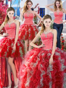 Four Piece White And Red Sleeveless Beading Floor Length Quinceanera Dress