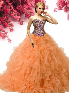 Sweetheart Sleeveless Quince Ball Gowns Floor Length Beading and Ruffles Orange Organza