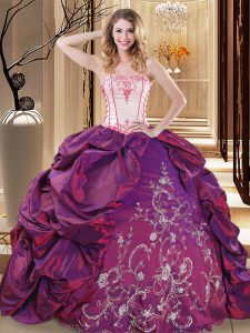 Flirting Ball Gowns Quinceanera Dresses Purple Strapless Taffeta Sleeveless Floor Length Lace Up