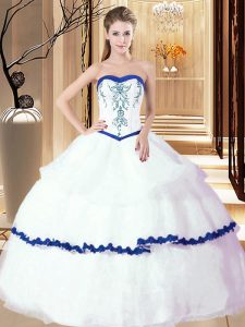 Glittering White Sweetheart Neckline Embroidery and Ruffled Layers Sweet 16 Dress Sleeveless Lace Up