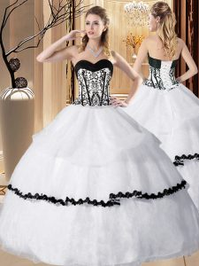 Decent White Lace Up Sweetheart Embroidery and Ruffled Layers Sweet 16 Quinceanera Dress Organza Sleeveless