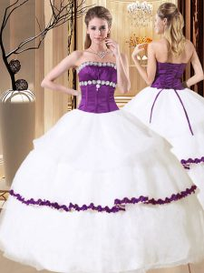 Sophisticated White Ball Gowns Beading and Embroidery and Ruffled Layers Quinceanera Gown Lace Up Organza Sleeveless Floor Length