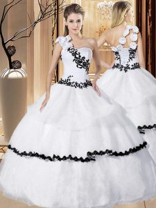 Luxury One Shoulder Sleeveless Appliques and Hand Made Flower Lace Up Quinceanera Dress